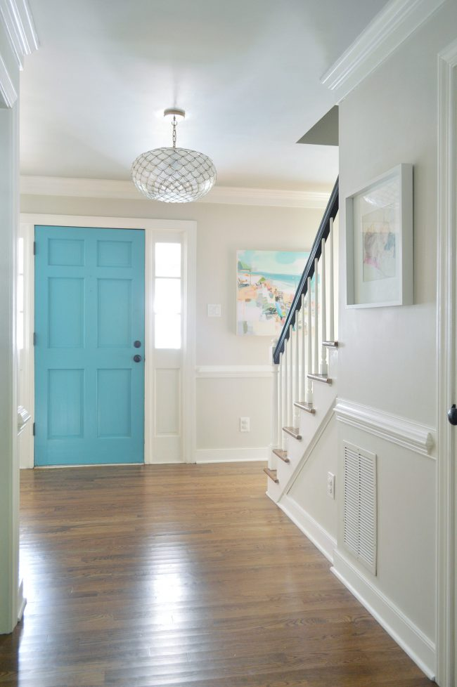 Blue Foyer Door : Freshening up the foyer young house love