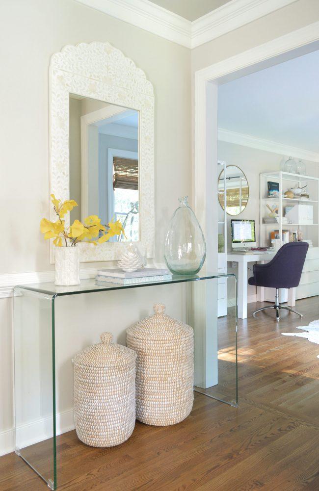 neutral foyer gingko leaf basket mirror