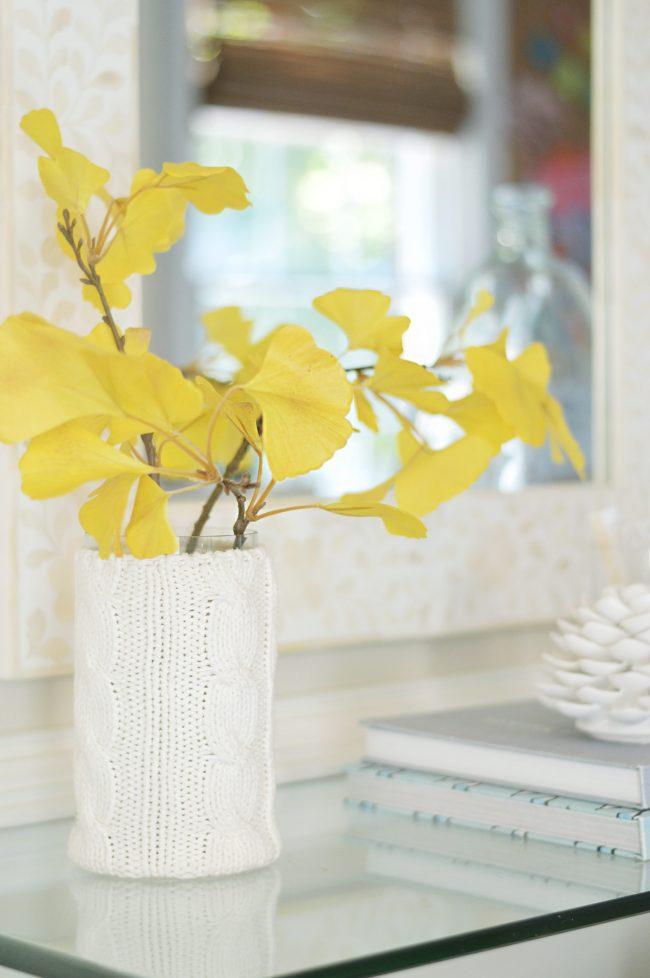 faux gingko leaf branch decor in vase