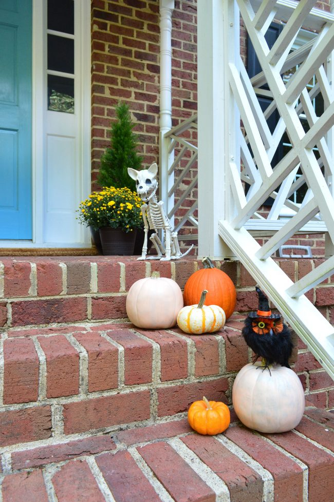 Halloween Front Porch Decor Pumpkins Skeleton Owl