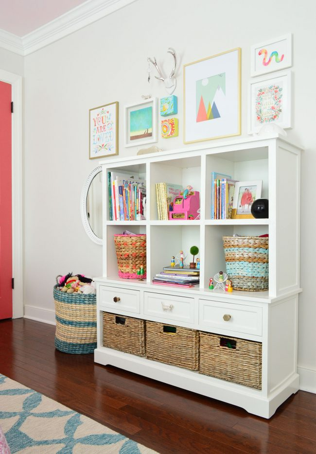 girls bedroom storage bookcase art wall