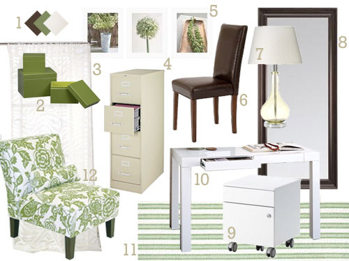 green-brown-and-white-office-scrapbooking-room-full-of-functional-storage-options-mood-board-makeover-before-and-after