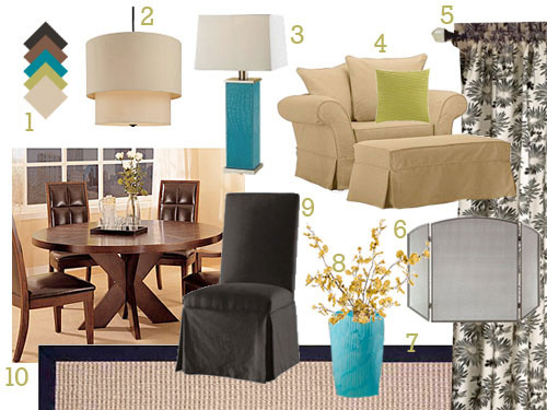 dining-and-sitting-area-mood-board-makeover-blue-and-tan-and-round-table-before-and-after