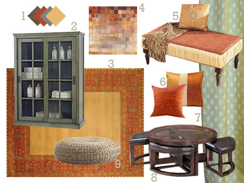 susans-spicy-red-orange-gold-brown-living-room-makeover-before-and-after-mood-board-exotic