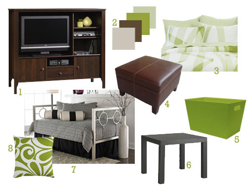Green&BrownGuestBedroomMakeoverMoodboard 1