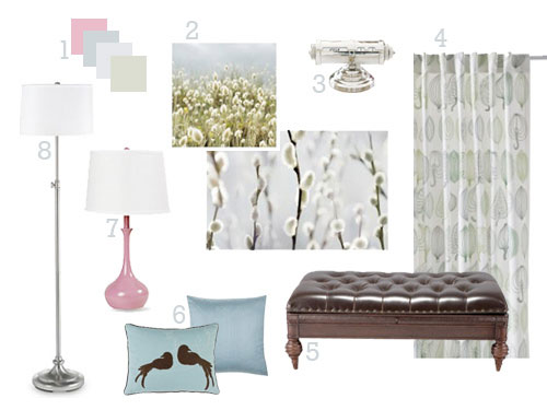 Green & Pink Office & Living Room Makeover Moodboard 1